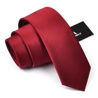 2016 Mens Casual Silk Ties For Men Brand Business Neckties Men's 6cm Solid Wine Red Slim Neck Ties Narrow Tie Skinny Gift Box