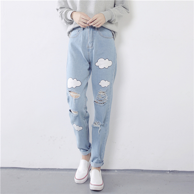 2018 New Women Denim   Jeans   Harajuku Sweet Cute Cloud Print   Jeans   High Waist Pleated Cotton Long   Jeans   Female #A028