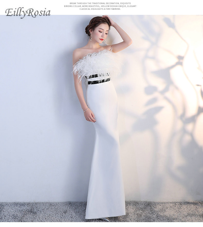 68ac8cbe2bc Strapless Mermaid Mother of the Bride Dresses for Wedding Guest Feathers  Satin Elegant White Women s Evening Gowns Dinner Party. model show. 5.1 ...