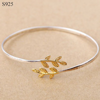 100 Genuine Real Pure Solid 925 Sterling Silver Bangles For Women Jewelry Gold Leaf Female Cuff