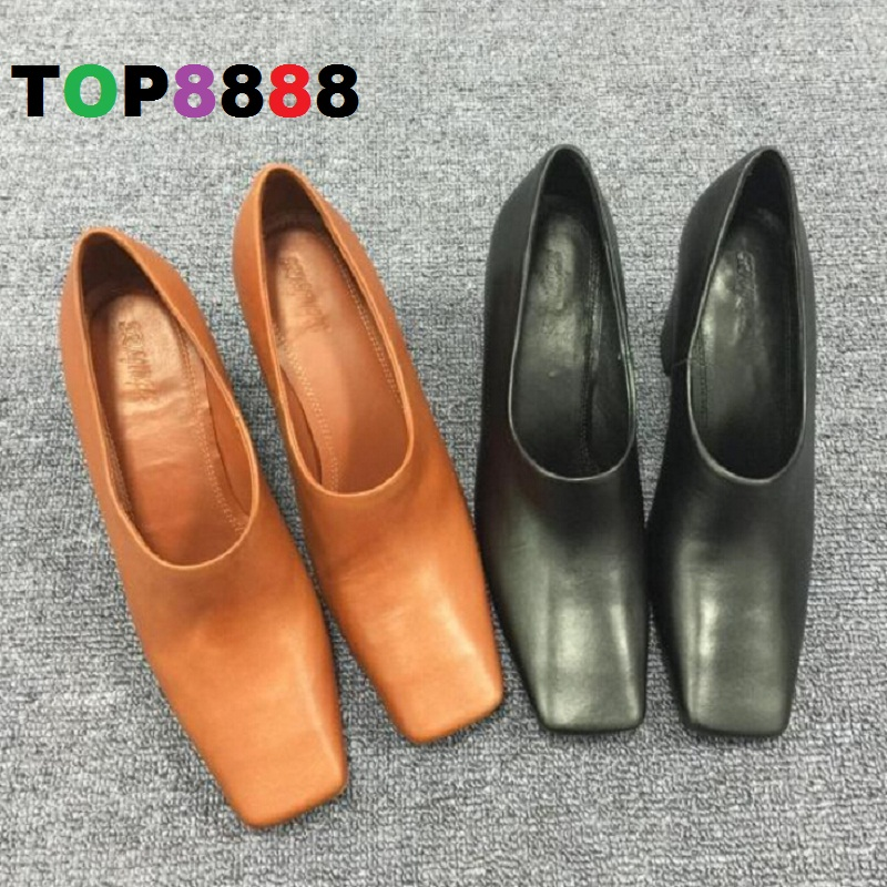ФОТО Size 34-40 European and American Square Toe Strong Heel High Heel 8 CM Dress Shoes Spring Punk Lady Fashion Shoes  C025