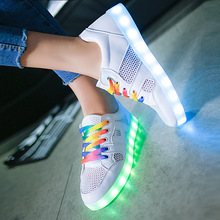Hot Sale Women Breathable mesh shoes LED Shoes for Adults White Glowing Light Up Flat Shoes Luminous Recharging led women shoes
