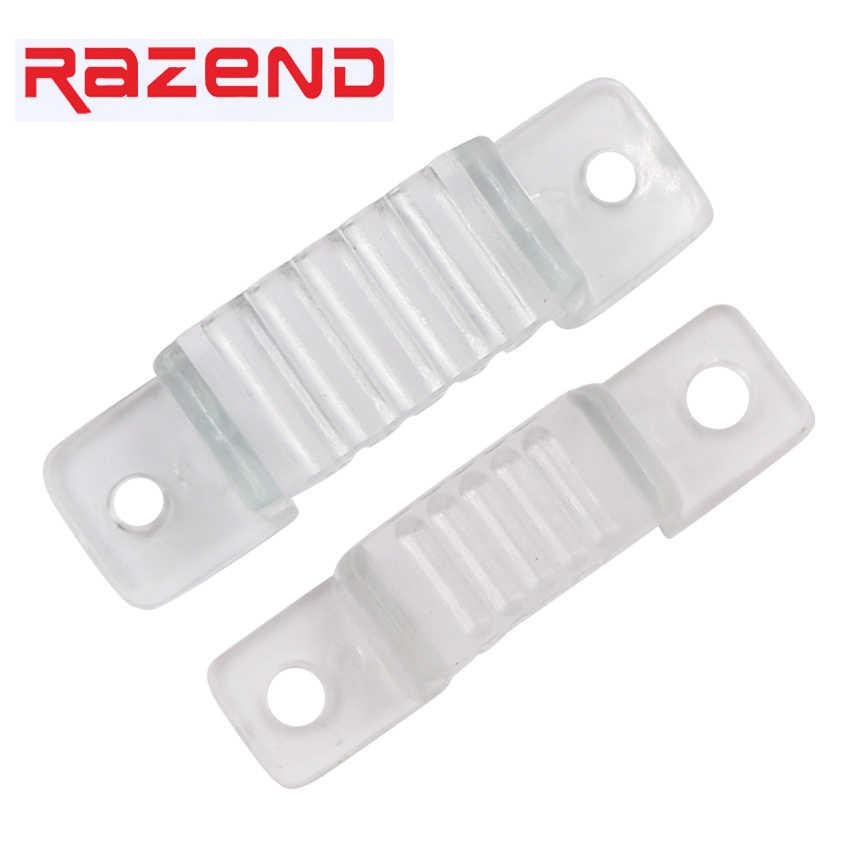 100 sztuk LED mocowania silikonowe klipsy montażowe 12mm 18mm klamry zaciski do 220V 110V wodoodporna taśma LED taśma oświetlająca