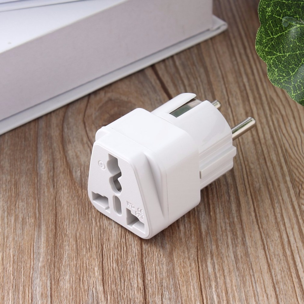 Universal Adapter Electrical Plug For AU US UK To EU AC Power Plug Travel Home Socket Converter Adapter White