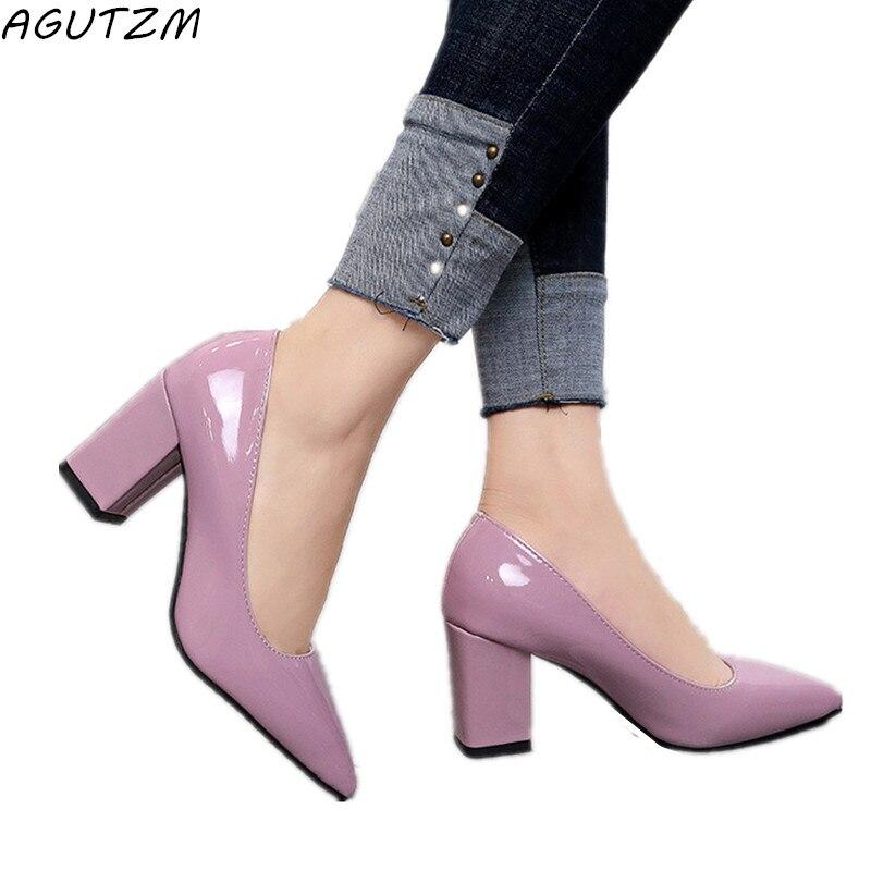 Agutzm Для женщин Высокие каблуки Насосы пикантные Свадебные вечерние толстый каблук острый носок кожаные Обувь на высоких каблуках для офиса... ...