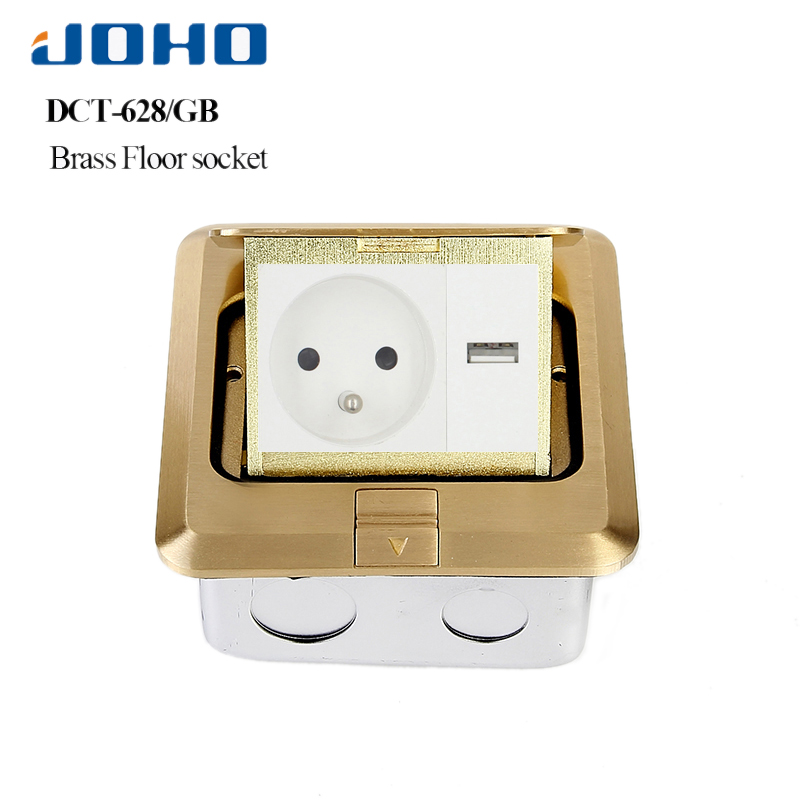 JOHO Power Socket Slow Pop Up Floor Socket Outlet Box With 16A French Socket And RJ45 Data Brass Alloy Panel General Type brass slow pop up floor socket box with 15a 125v us socket rj45 computer data