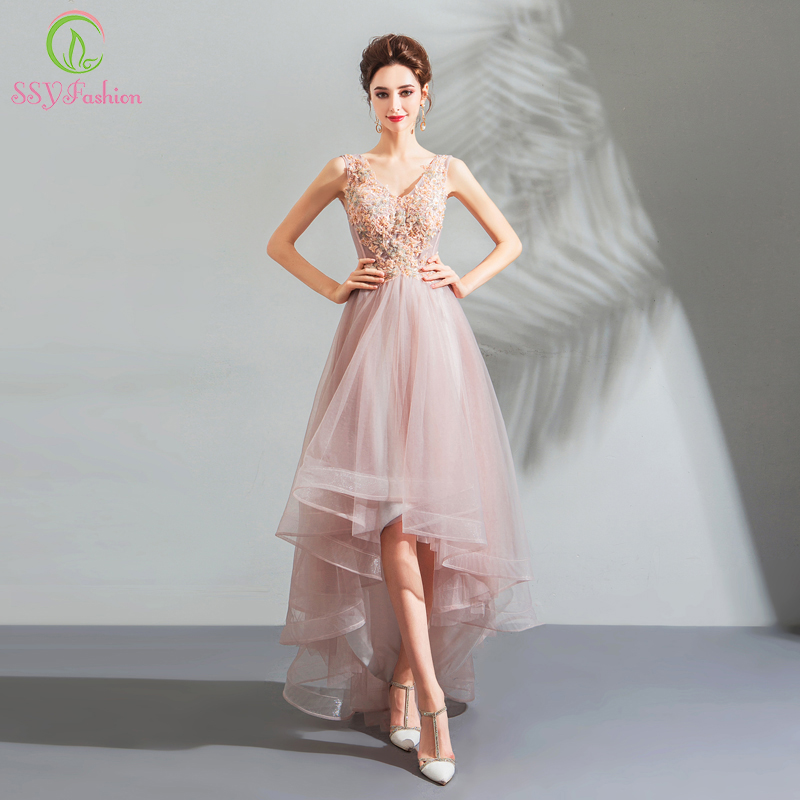 SSYFashion New Sweet Lace Evening Dress V neck Sleeveless Pink Appliques Short Front Long Back Party