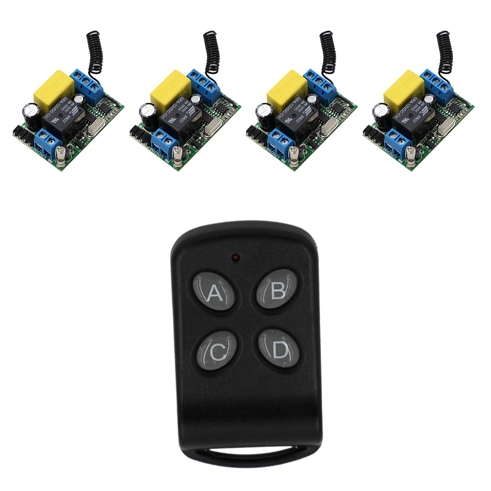220V Wireless Remote Control Switch System RF 4 Receivers+1Transmitter Remote Control For LED Light Lamp High Quality