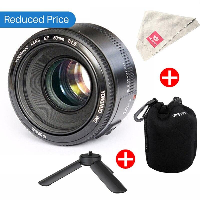Ulanzi Yongnuo YN50mm F1.8 AF MF Lentille YN 50mm Auto Focus Lens pour Canon EOS DSLR Caméras 60D 70D 5D2 5D3 600D w Sac Mini Trépied
