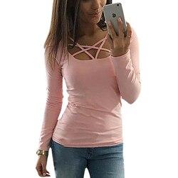 Spring autumn women t font b shirt b font long sleeve hollow out spaghetti strap slim.jpg 250x250