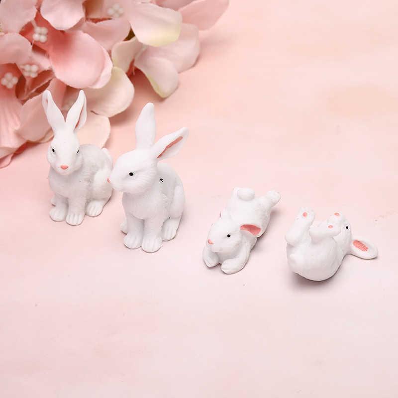 1 Pcs/set Kawaii Resin Kelinci Putih Patung Bonsai Mikro Baru Rumah Boneka Ornamen Mini Kerajinan Miniatur