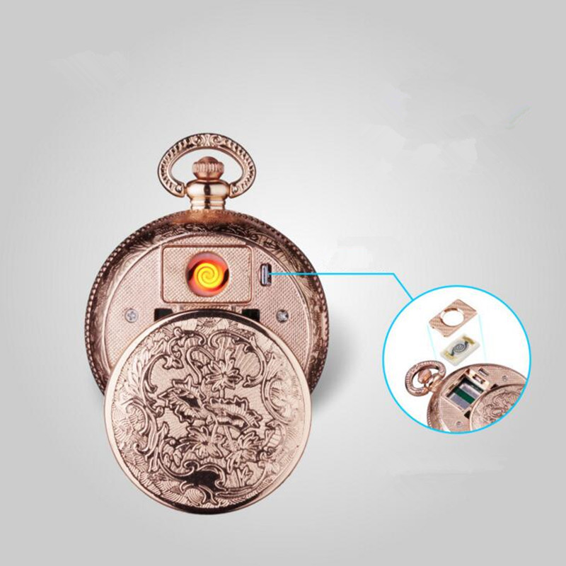 Creative USB Charging Men's Quartz Watch Military Windproof Pocket Watch Cigarette Lighter Shielding Wire Pocket Watch Clock D48 zippo love bites pocket lighter