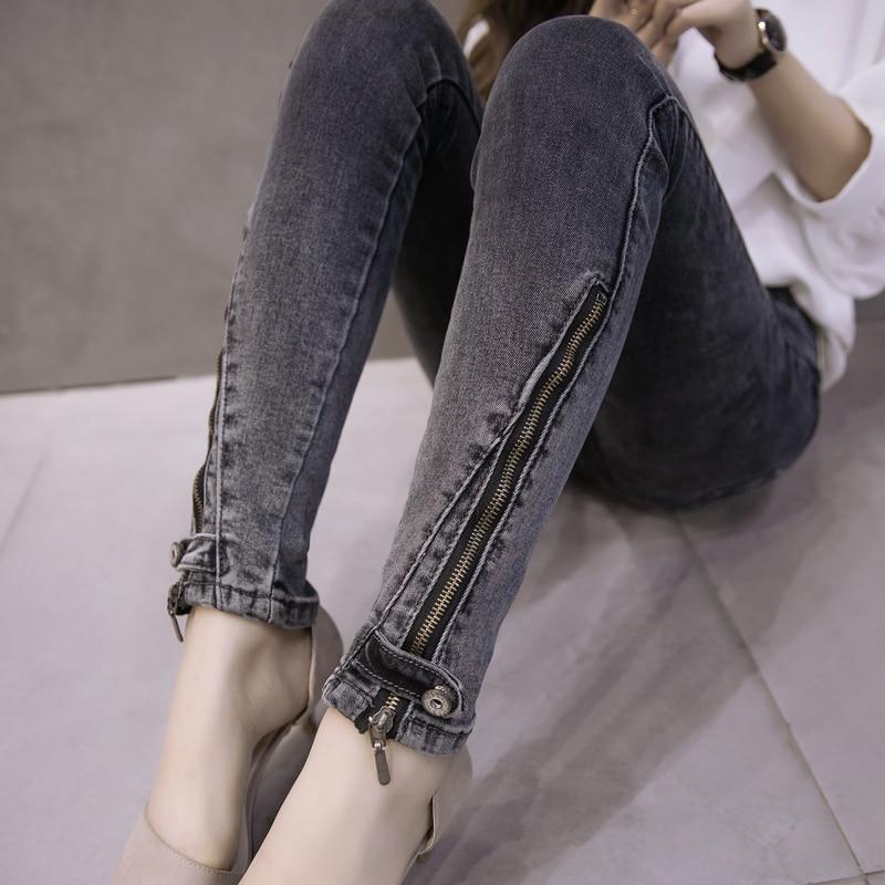 ФОТО 4xl plus big size denim jeans panty women spring autumn 2016 feminina winter stretch jeans pants female A1925