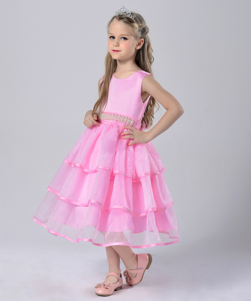 White Holy First Communion Dresses 2017 Pink Princess Flower Girl