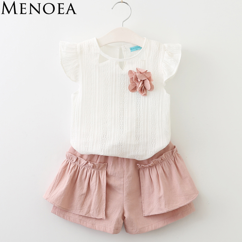 Menoea 2017 Summer Kids clothes Girls Clothing sets Children's clothing Girl Sleeveless T-shirt + Pant Fashion Style New Arrival dhl equick ems shipping 6 sets girls clothing sets lots fashion kids clothing sets 2017 top jean pant 2pcs girls clothes sets