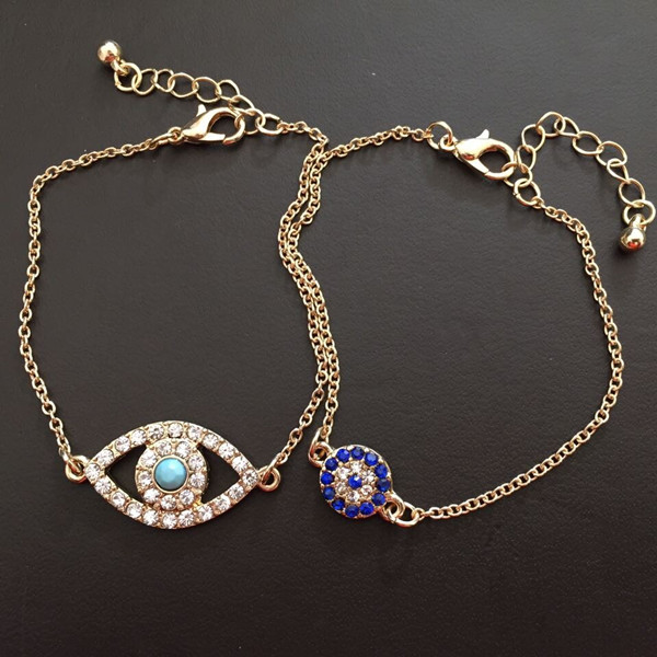 Women/'s Fashion Jewelry Lucky Crystal Evil Eye Gold Plated Chain Charm Bracelet