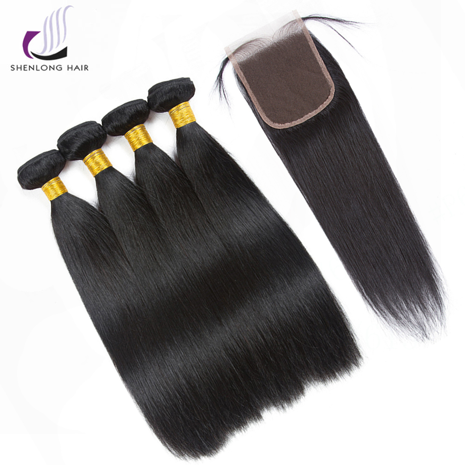 SHENLONG HAIR Straight Peruvian Human Hair 4 Bundles With Closure Non Remy Hair 8-26 Inch Bundles With Closure Natural Color