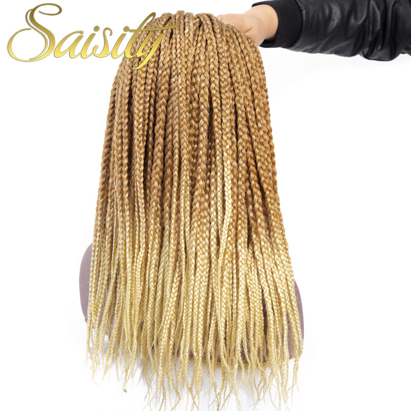 Saisity Crotchet Hair Bulk Braids Micro Box Braid Hair Extensions Crochet Ombre  Synthetic Braiding Hair