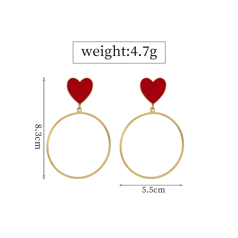 HTB1eFl0QrvpK1RjSZPiq6zmwXXaO - 2019 New Red Heart Big Gold Loop Dangle Earrings For Women Lady's Chic Heart Love Earring For Party Jewelry Gift