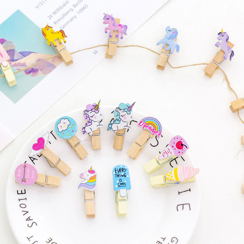 10 Pcs/lot Cartoon Colored Wooden Clip Kawaii Photo Craft Clips Party Decoration Clip With Hemp Rope Party Supplies