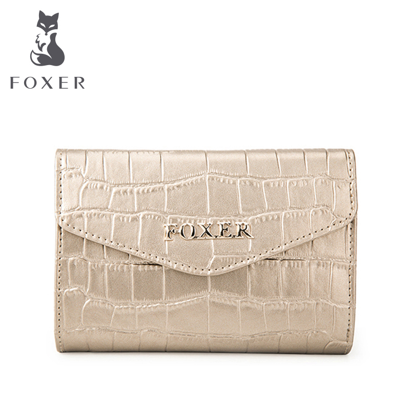 FOXER Brand Women Leather Short Wallet High Quality Crocodile Texture Women s Wallets Women wallet Female