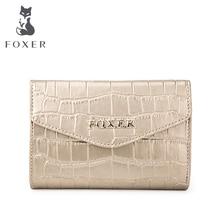FOXER Brand Women Leather Short Wallet High Quality Crocodile Texture Women's Wallets Women-wallet Female Wallet & Purse