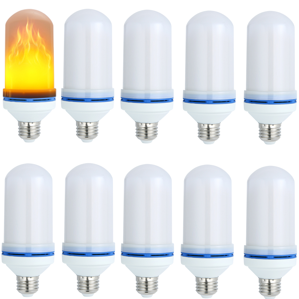 (Lots of 10) LMCO LED Flickering Flame Effect Light Bulb Lamp E26  Simulation True Fire Flash Flameless Decorative Flaming Lamp e26 led flame bulb flickering flame effect simulated flame light decorative light for hotel bars home restaurants