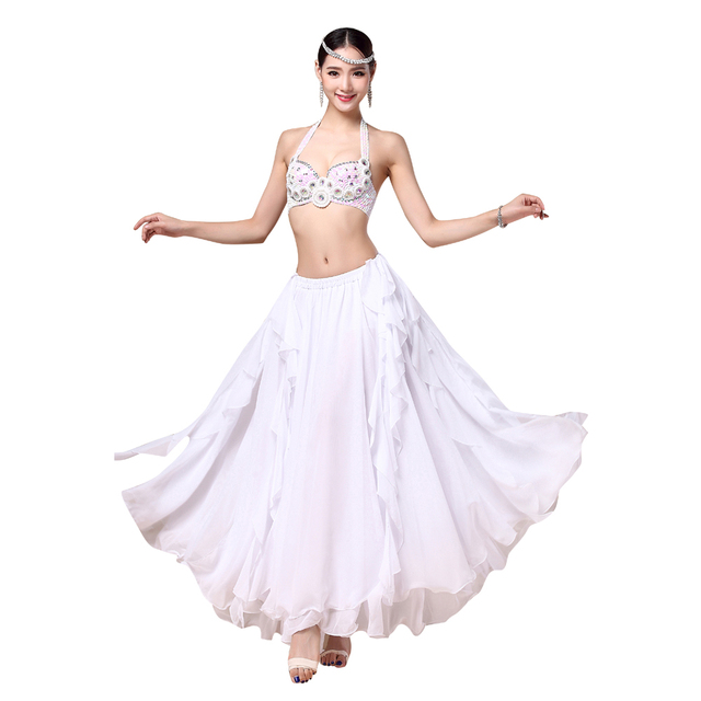 9ceb65e9cb25 2018 Performance Belly Dance Costume Bra & Belt & Skirt 34b/c 36b/c 38b/c  Dance Outfits White Clothes