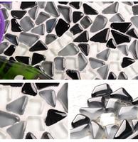 Free Shape Black Grey White Glass Mosaic Wall Tile For kitchen backsplash Shower Countertop home decor wallpaper sticker,LSZYS06