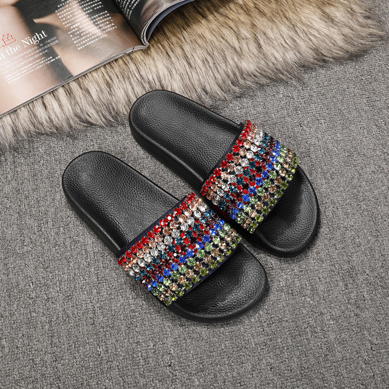 Hot Brand Women Slipper Colorful Crystal Embellished Women Shoes Chic Women Flats Trendy Women Slides Cool Summer Beach Shoes chic letters print band embellished women s knitted bowler hat