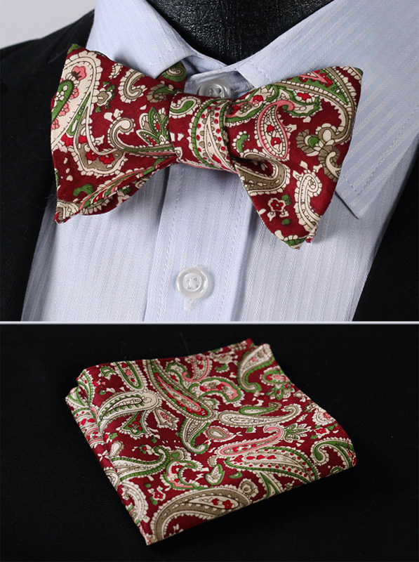 3d894c0039f0b BMF07G Burgundy Green Paisley Classic Cotton Jacquard Woven Men Self Bow Tie  BowTie Pocket Square Handkerchief Suit Set-in Men's Ties & Handkerchiefs  from ...