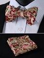 Bmf07g borgonha algodão clássico Paisley verde tecido Jacquard Men auto Bow Tie BowTie bolso praça Handkerchief Set
