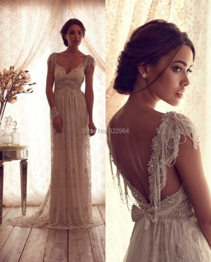 Luxury V Neck Anna Campbell Wedding Dresses Lace Crystal Beaded