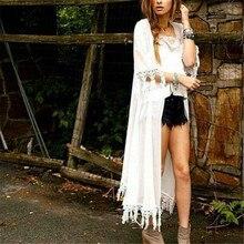 Летние кимоно кардиган Для женщин девочек Cover Up Солнцезащитный крем шифон Длинные свободные блузки 2017 кисточкой пляж Кардиганы для женщин Femme черный, белый цвет