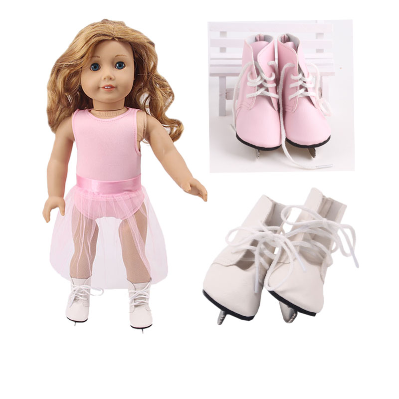 Doll Skate Shoes 2 Colors Ice Skate Blade Handmade For 18 Inch American Doll & 43 Cm Born Doll For Generation Girl`s Toy Doll