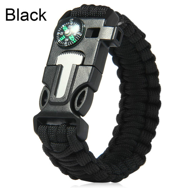 Outdoor Survival Bracelet Flint Fire Starter Gear Escape Paracord Whistle Cord Buckle Camping Bracelets Rescue Rope Travel Kits