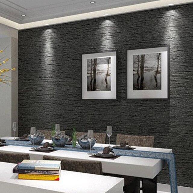 35b5c19ef 3D Não Tecido Ecológico Cinza Escuro Imitação de Palha Papel De Parede Papel  De Parede Moderno
