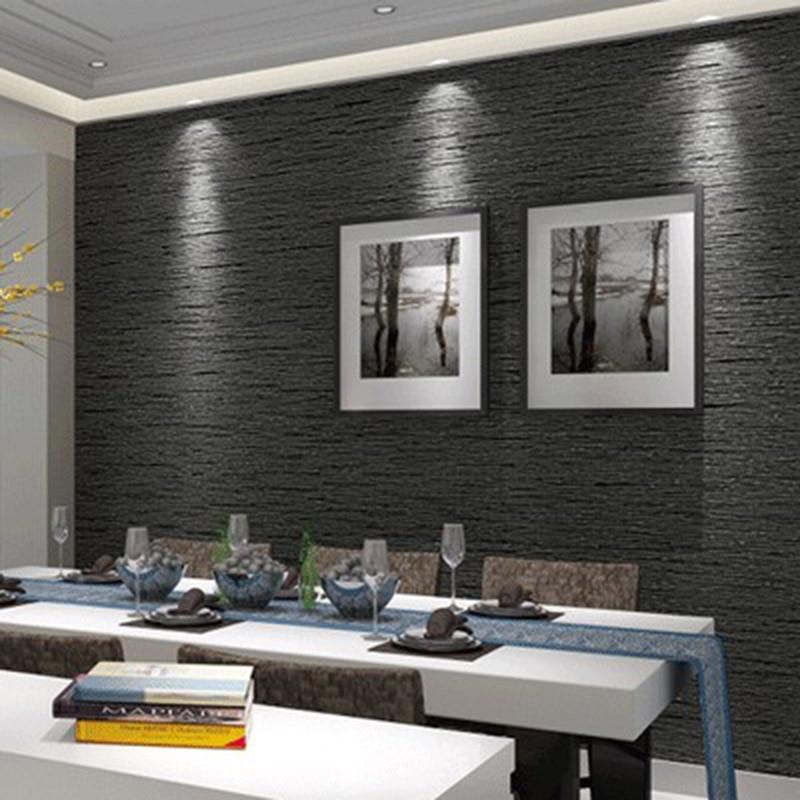 3D Non Woven Eco-Friendly Wallpaper Modern Minimalist Dark Gray Imitation Straw Wallpaper Living Room Study Office 3D Home Decor