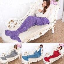 Knitting Handmade Fish Mermaid Tail Shape Sofa Bed Sleeping Bag Quilt Blanket