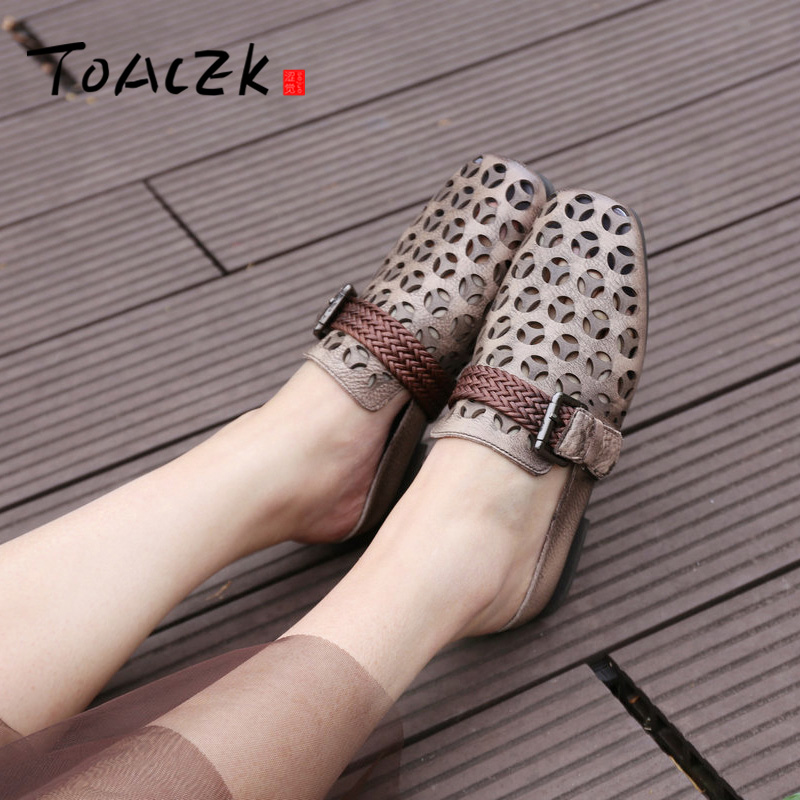 Female Xia leather flat bottom Baotou A word of slippers retro low heel square head Cool