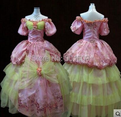 luxury pink  Medieval Renaissance Gown queen dress Costume Victorian Gothic/Marie Antoinette/civil war/Colonial Belle Ball