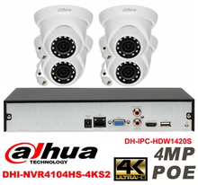 Dahua original 4CH 4MP H2.64 DH-IPC-HDW1420S 4pcs ONVIF Network camera POE DAHUA DHI-NVR4104HS-4KS2 Dome IP security camera kit
