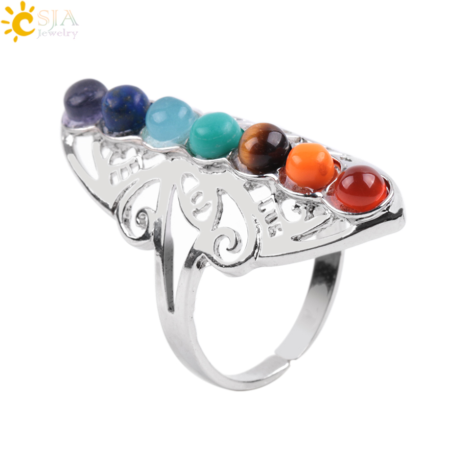 CSJA 7 Chakra Stone Bead Rings Finger Balance Meditation Hearm Point Hearm Adjustable Yoga Hollow Flower Women Ring E064