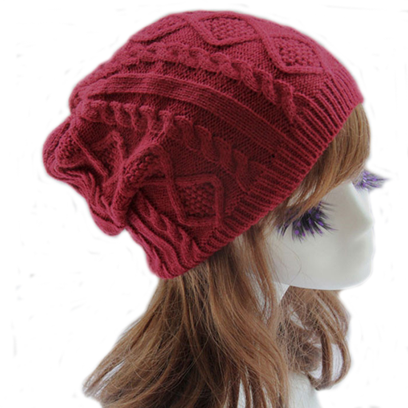 200pcs/lot Women New Design Caps Twist Pattern Women Winter Hat Knitted Sweater Fashion beanie Hats For Women 6 colors gorros