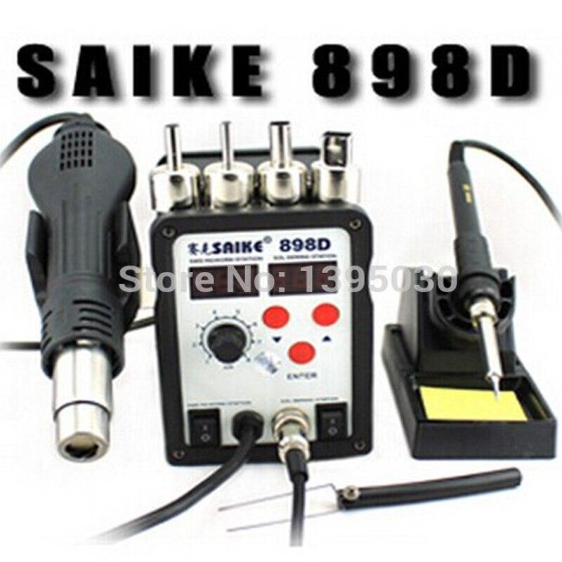 ФОТО 1pcs  SAIKE 898D 2 in 1 Soldering Station Hot Air Gun+welding Iron 220V 110V