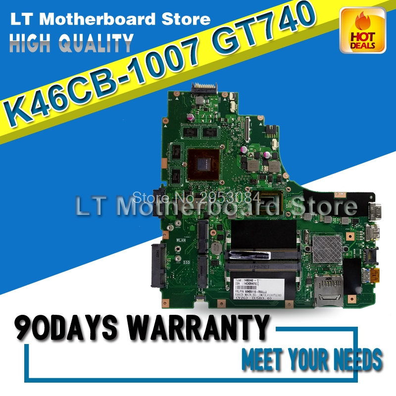Laptop Motherboard For ASUS A46C S46C E46C K46CB 1007 GT740 System Board Main Board Card Logic Board Tested Well S-4 kefu k46cb motherboard for asus k46cb k46cm a46c laptop motherboard i5 3317u cpu pm k46cb viedo card original 100