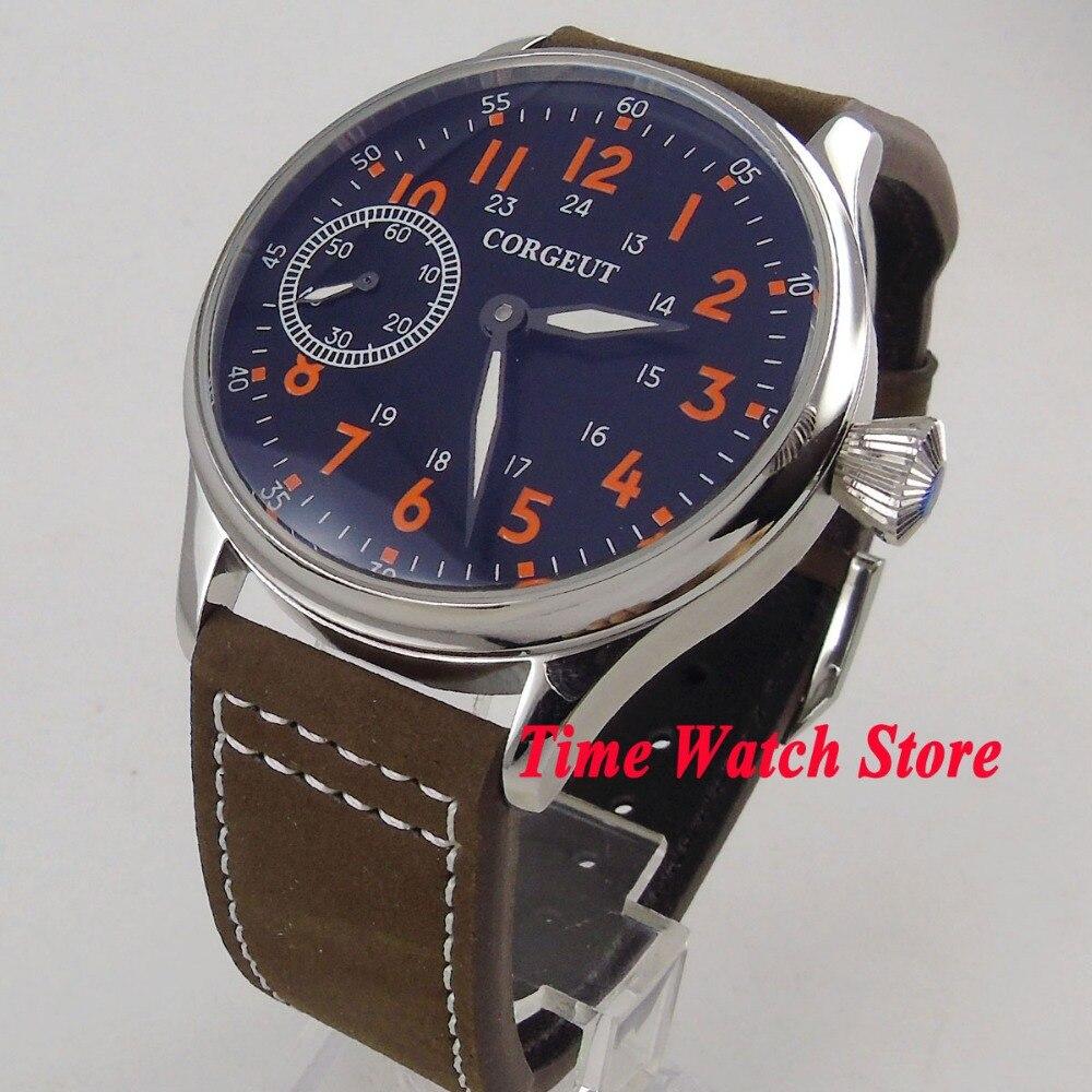 44mm Corgeut black dial orange numbers luminous 17 jewels 6497 Mechanical Hand Winding movement men s