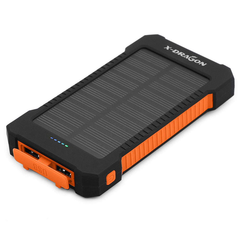 10000mAh Portable Solar Power Bank Mobile Phone Charger USB Outdoor Charging LED Power Solar Panel Emergency External Battery dual usb output universal thunder power bank portable external battery emergency charger 13000mah yb651 yoobao for electronics