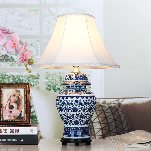 US $239.8  Blue and white Art Chinese porcelain ceramic table lamp bedroom  living room wedding table lamp Jingdezhen office table lamp-in Table Lamps  ...