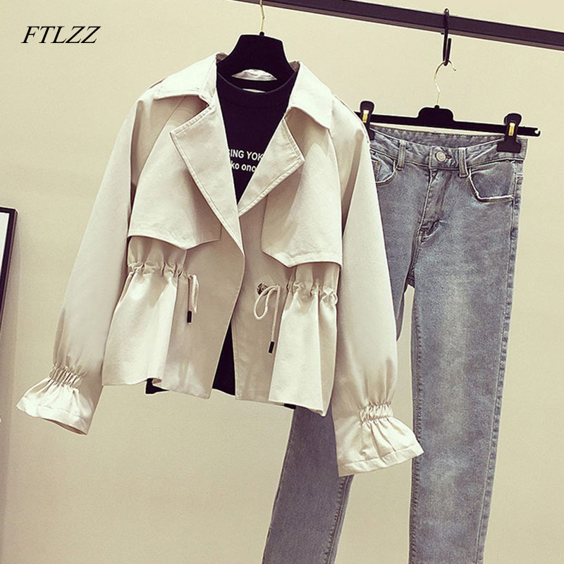 FTLZZ New Women   Trench   Coat Spring Autumn Turn-down Collar Sash Tie Up Windbreaker Outerwear Female Casual Slim   Trench   Coat